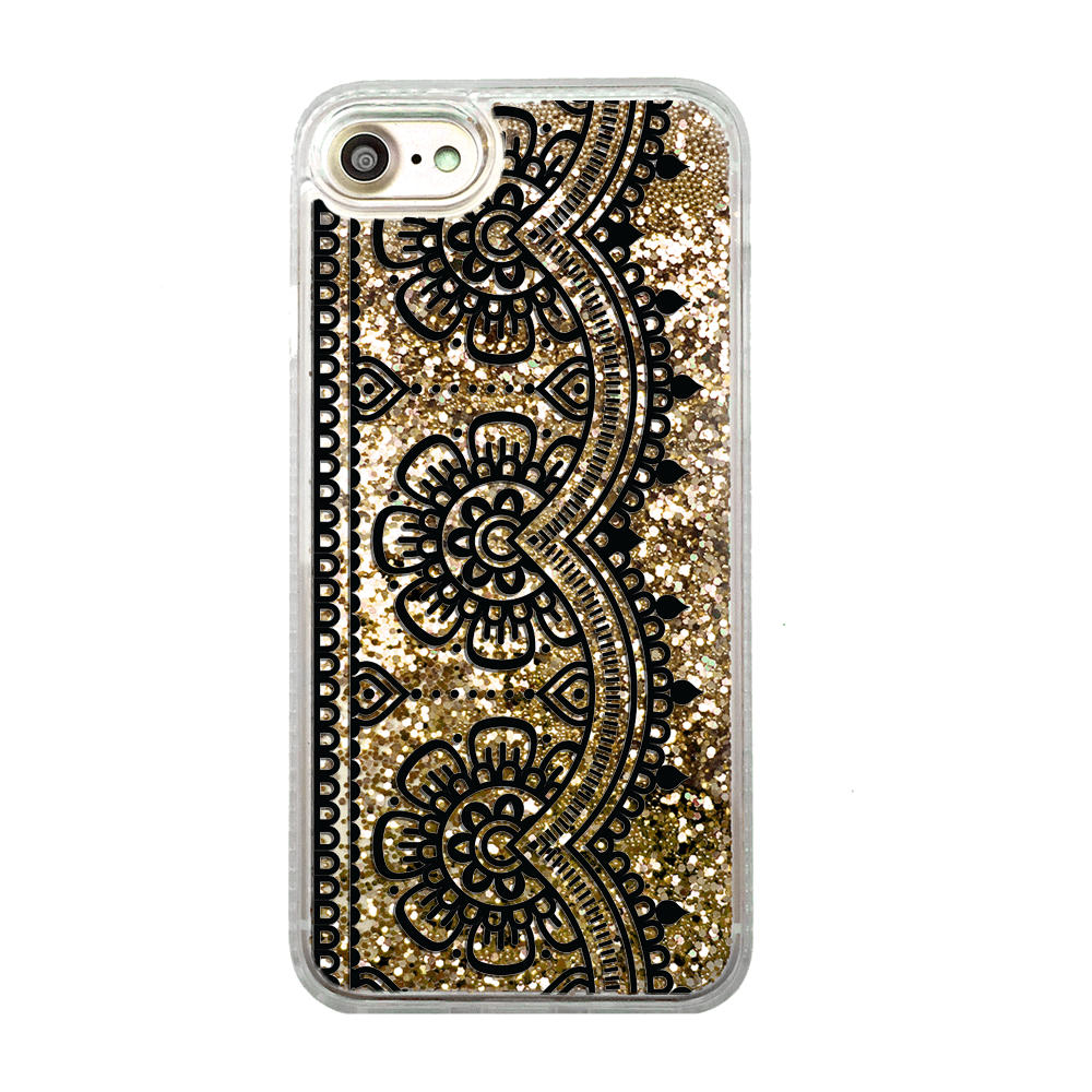 Gold Glitter Black Lace iPhone Case