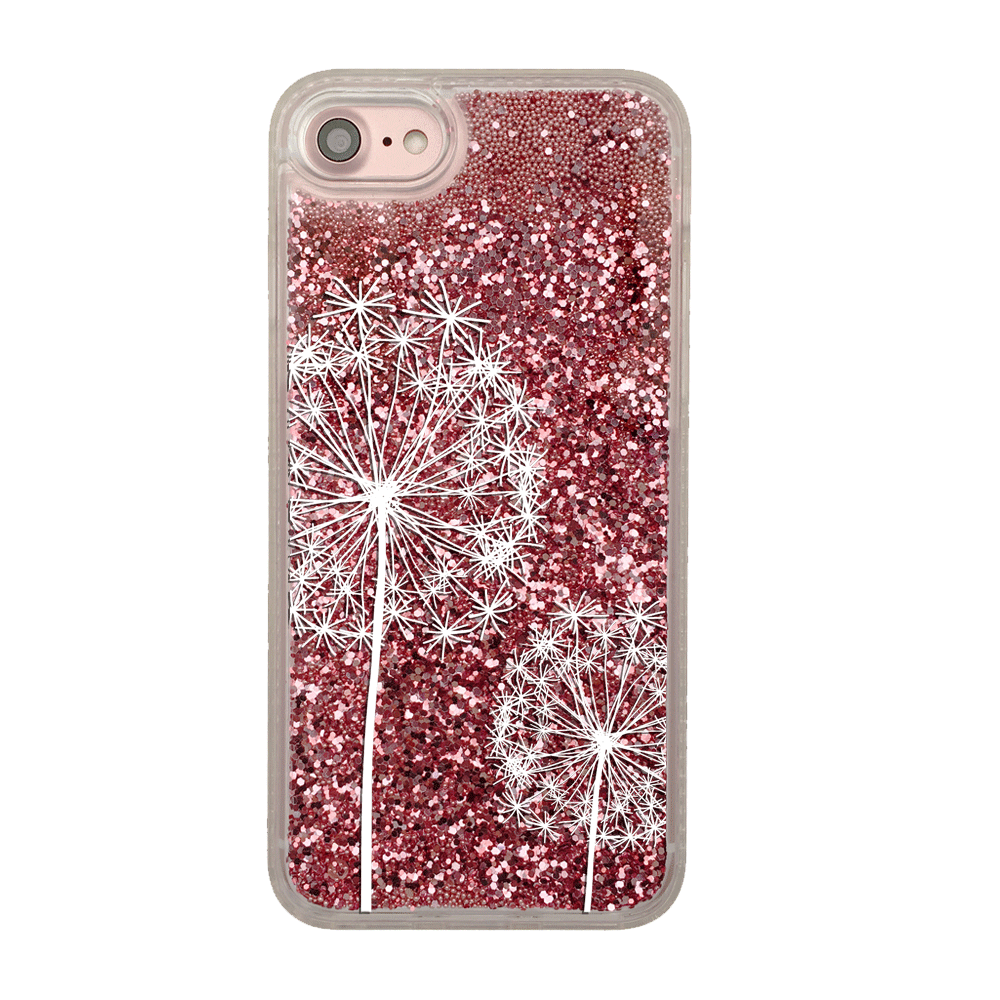 Pink Glitter Dandelions iPhone Case