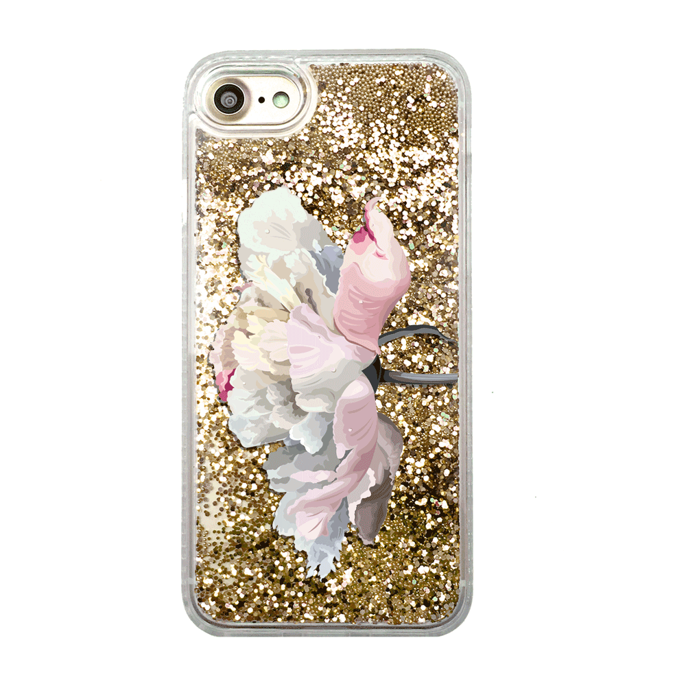 Gold Glitter White Peony iPhone Case