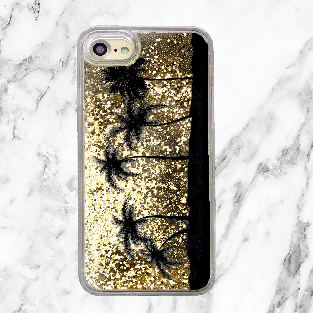 Palm Trees Gold Glitter Phone Case