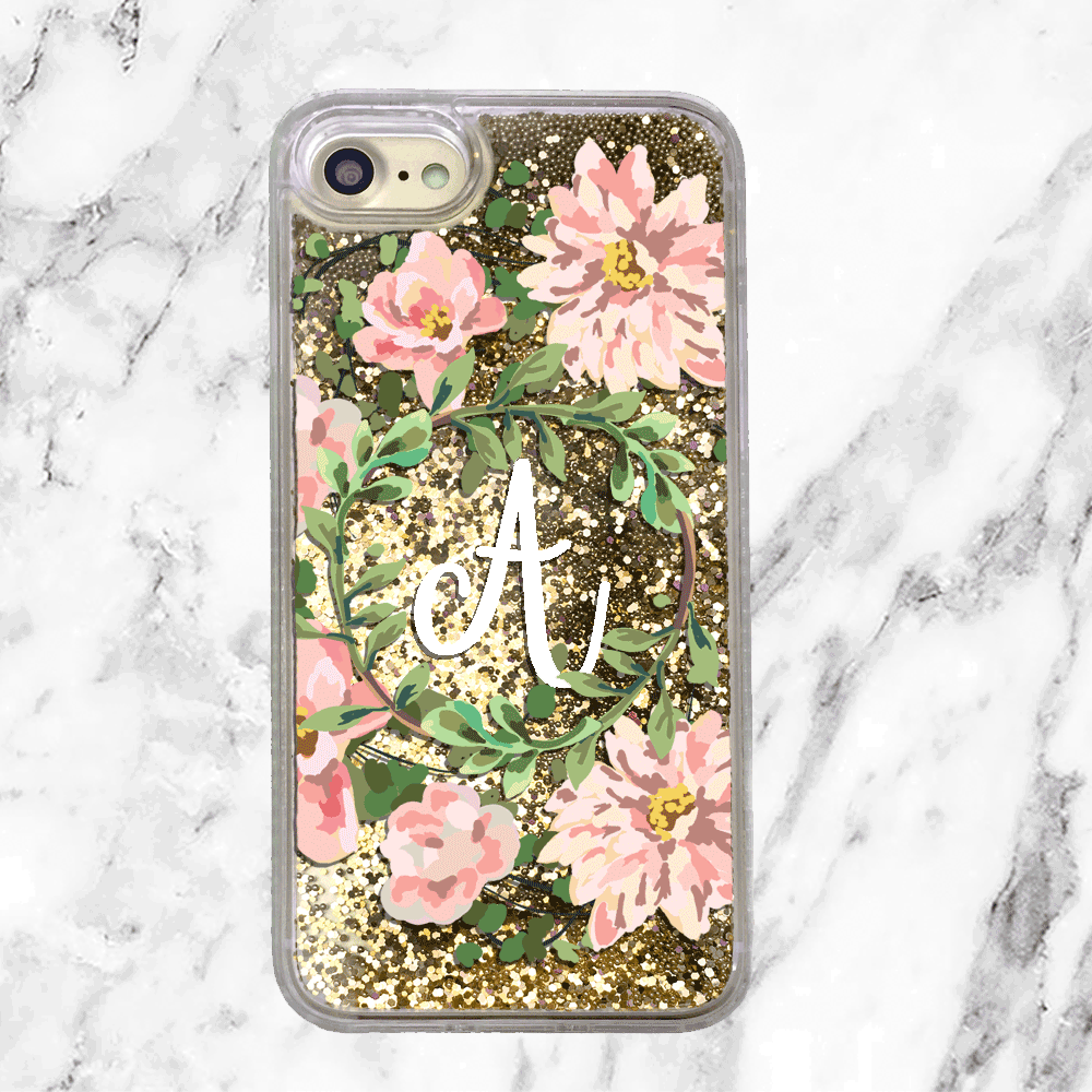Custom Floral Wreath Initial Gold Glitter Phone Case