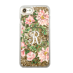 Custom Floral Wreath with Initial Gold Glitter iPhone Case