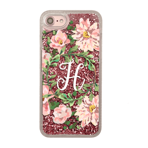 Custom Floral Wreath with Initial Pink Glitter iPhone Case