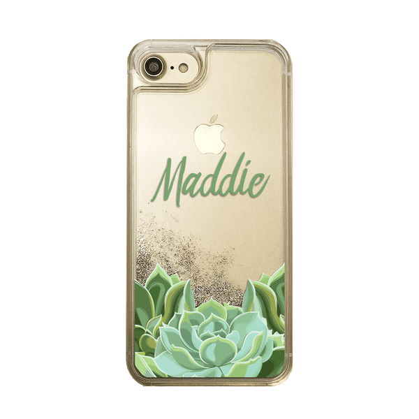 Liquid Glitter Gold iPhone Case Personalized Name Succulent