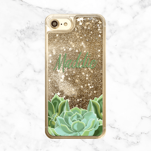 Custom Name with Succulent Gold Glitter Phone Case