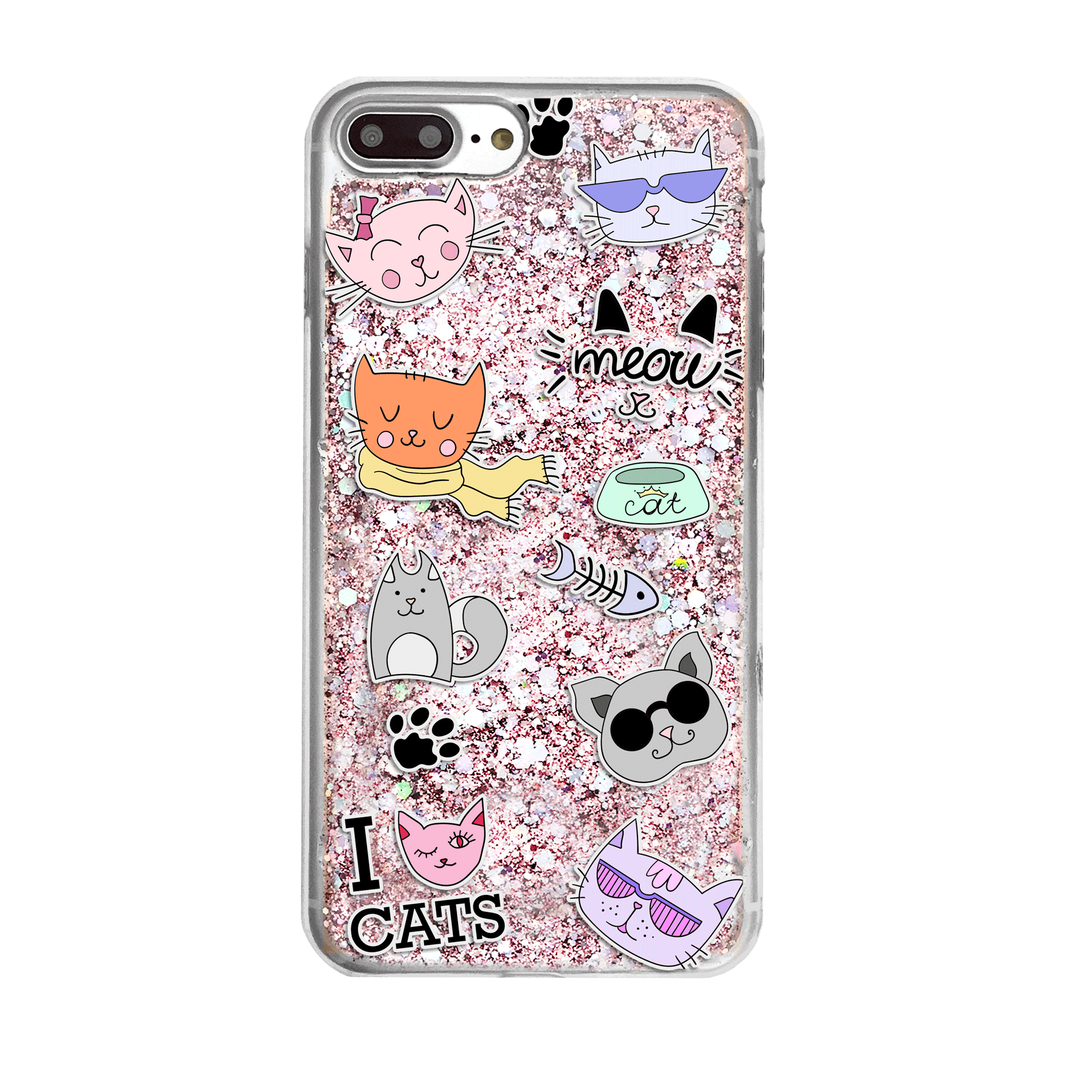 Cat Lover Pink Glitter Phone Case