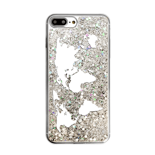 Silver Glitter World Map Phone Case