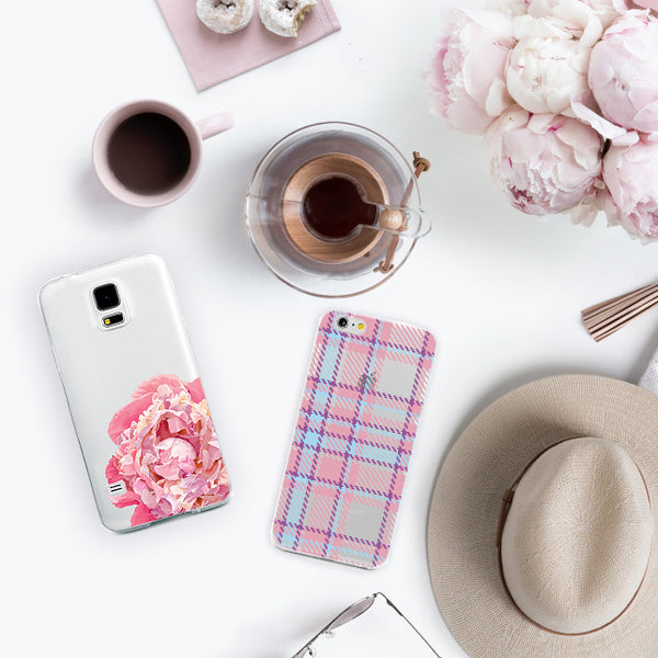 Peony and Plaid iPhone Cases