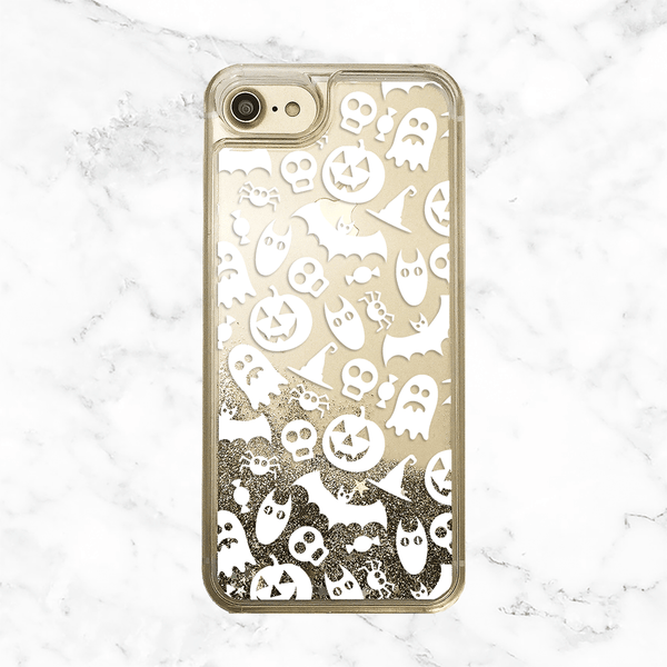 Halloween Pumpkins and Ghosts Gold Glitter Phone Case