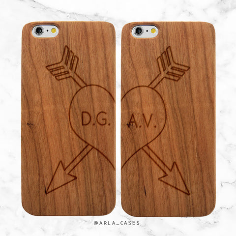 Custom Heart Initials iPhone Case Set