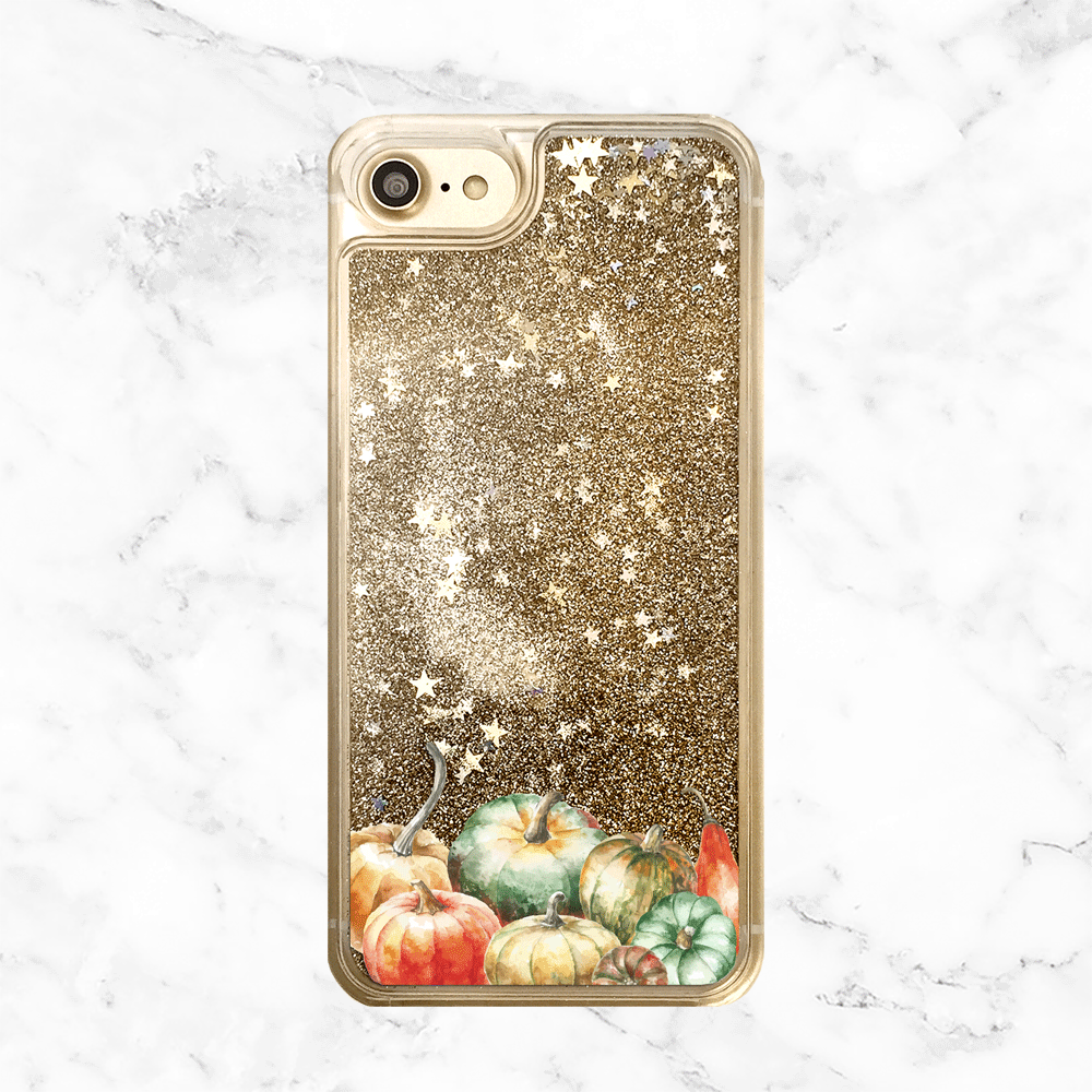 Autumn Pumpkins Gold Glitter Phone Case