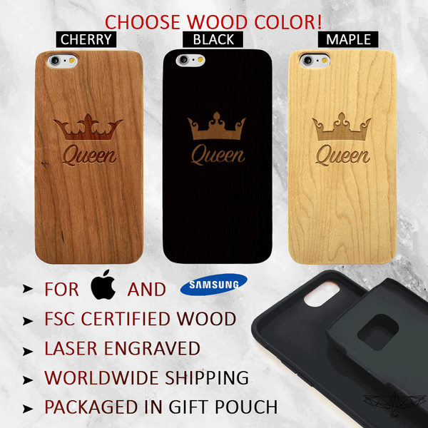 Queen Wood Phone Case Set