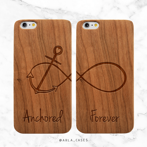 Anchored Forever Infinity Wood Phone Case Set