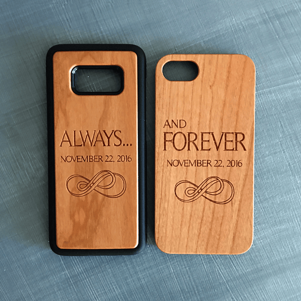 Custom Always & Forever Couples Wood Phone Case Set