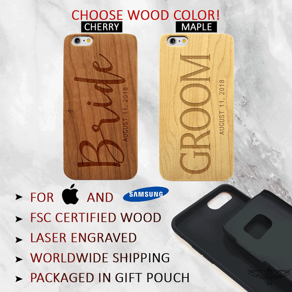 Custom Bride & Groom Wedding Wood Phone Case Set