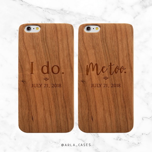 Personalized Wedding Date Wood Phone Case Set