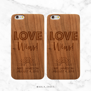 Custom Wedding Date Love Wins Wood Phone Case Set