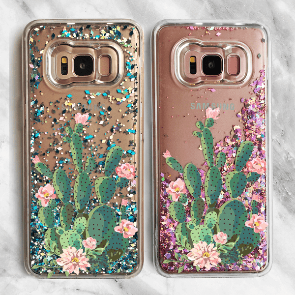 Prickly Pear Cactus Glitter Samsung Galaxy Phone Case