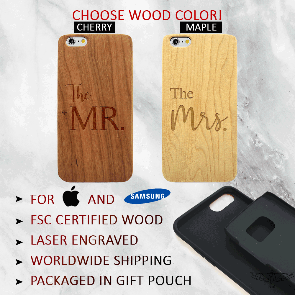 Newlywed Mr & Mrs Wedding Wood Phone Case Set