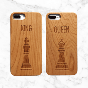 King and Queen Chess Wood Phone Case Set