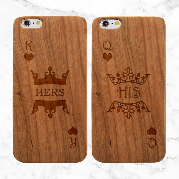 King and Queen Crowns Wood Phone Case Set