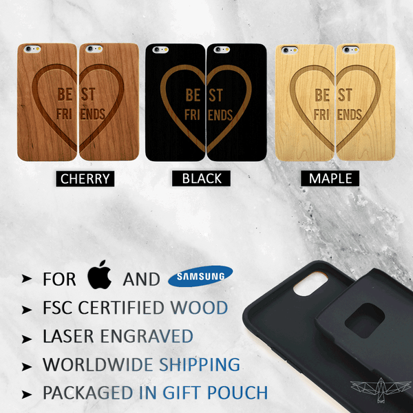 Best Friends Heart Phone Case Set