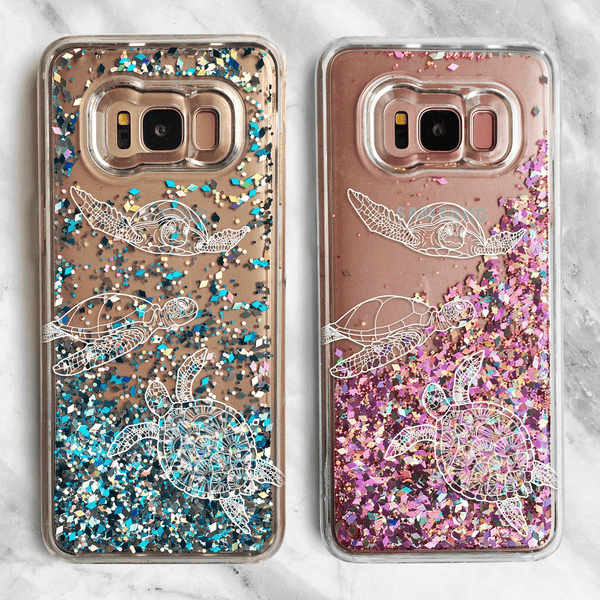 Sea Turtle Samsung Galaxy Liquid Glitter Phone Case