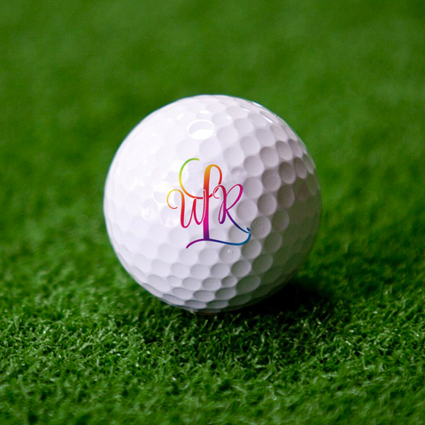 Rainbow Monogram Golf Ball