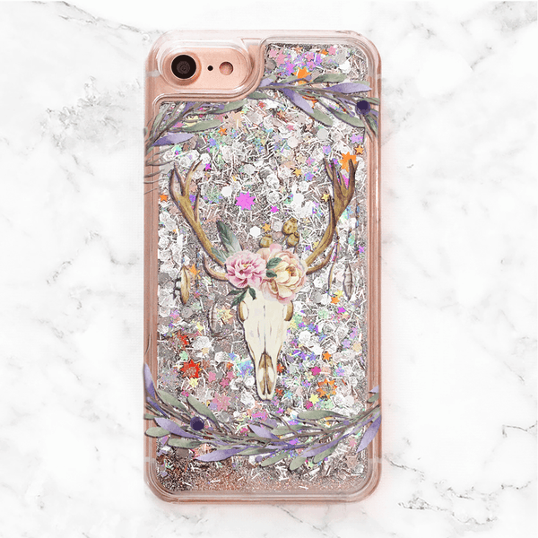 Boho Deer Skull Glitter iPhone Case