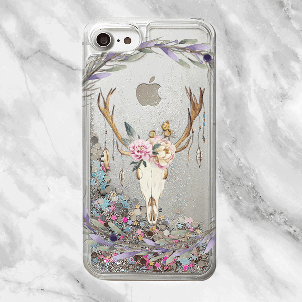 Floral Deer Skull Glitter iPhone Case