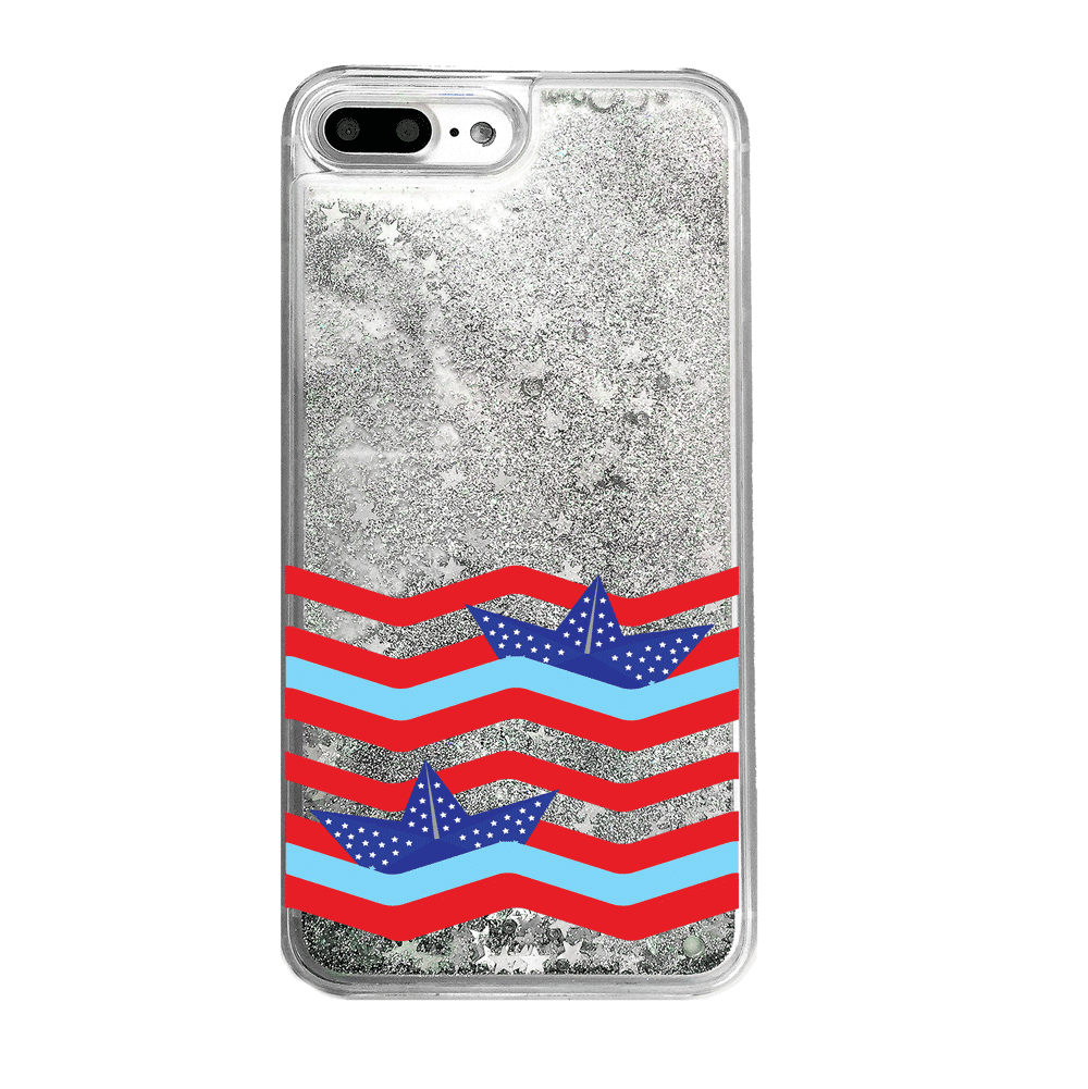 4th of July American Flag Silver Glitter iPhone Case