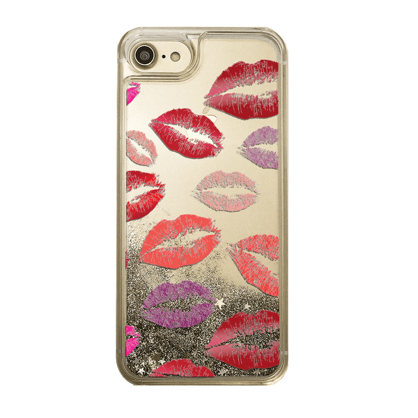 Lipstick Kisses Gold Glitter Phone Case