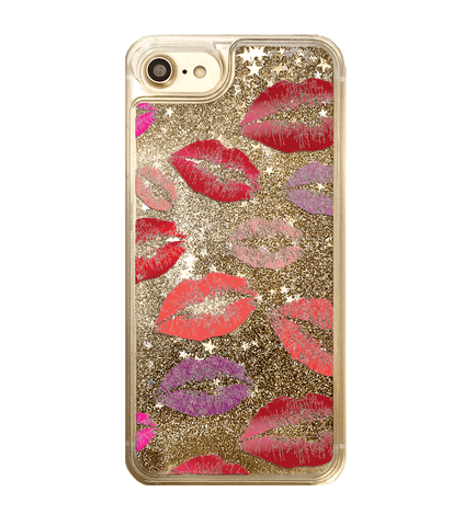 Gold Glitter Lipstick Kisses Phone Case