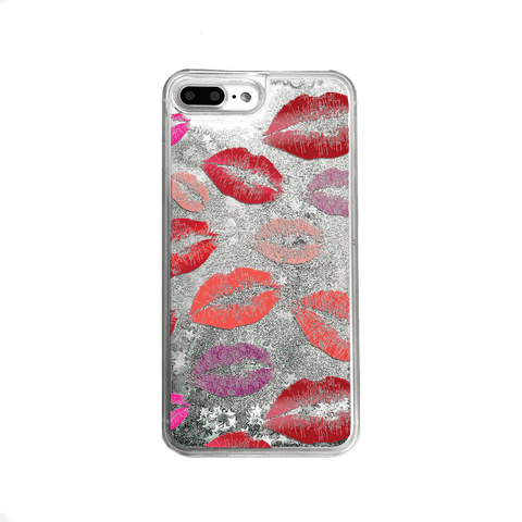 Lipstick Kisses Silver Glitter Phone Case