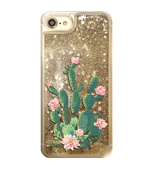 Gold Glitter Cactus iPhone Case