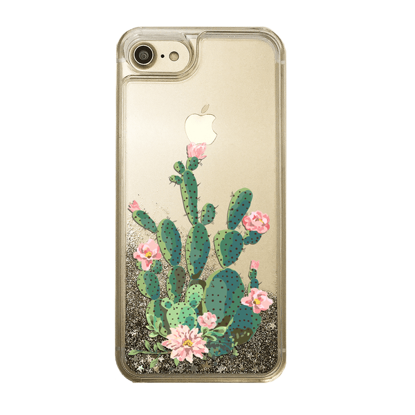 Prickly Pear Cactus - Gold Glitter Phone Case