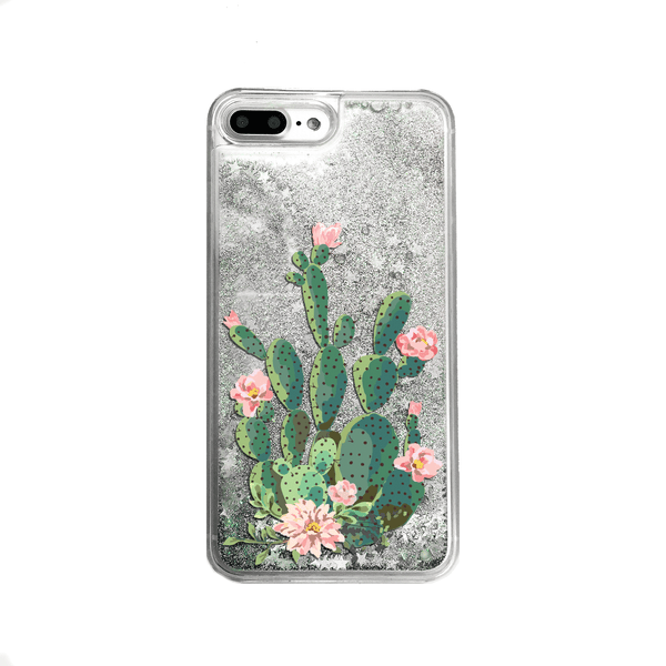 Silver Glitter Cactus iPhone Case
