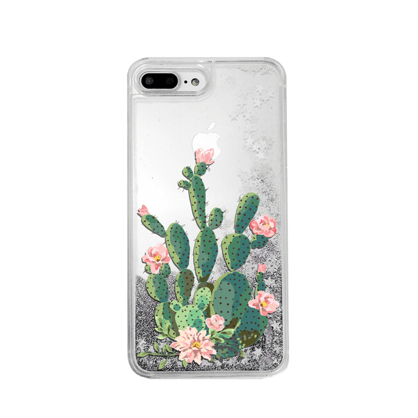 Blooming Prickly Pear on a Silver Glitter Phone Case