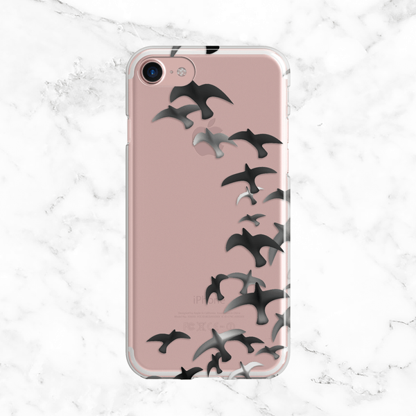 Watercolor Black Birds in Flight - Clear TPU Phone Case Cover with Print
