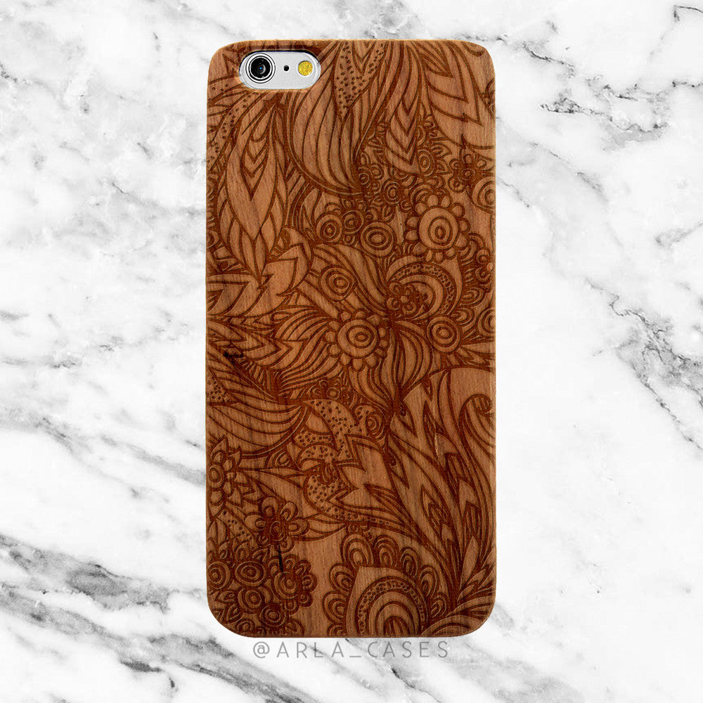 Floral Doodle on Wood iPhone Case
