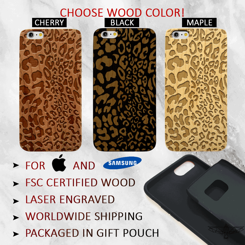 Leopard Print Wood Phone Case - Animal Print iPhone and Galaxy Case