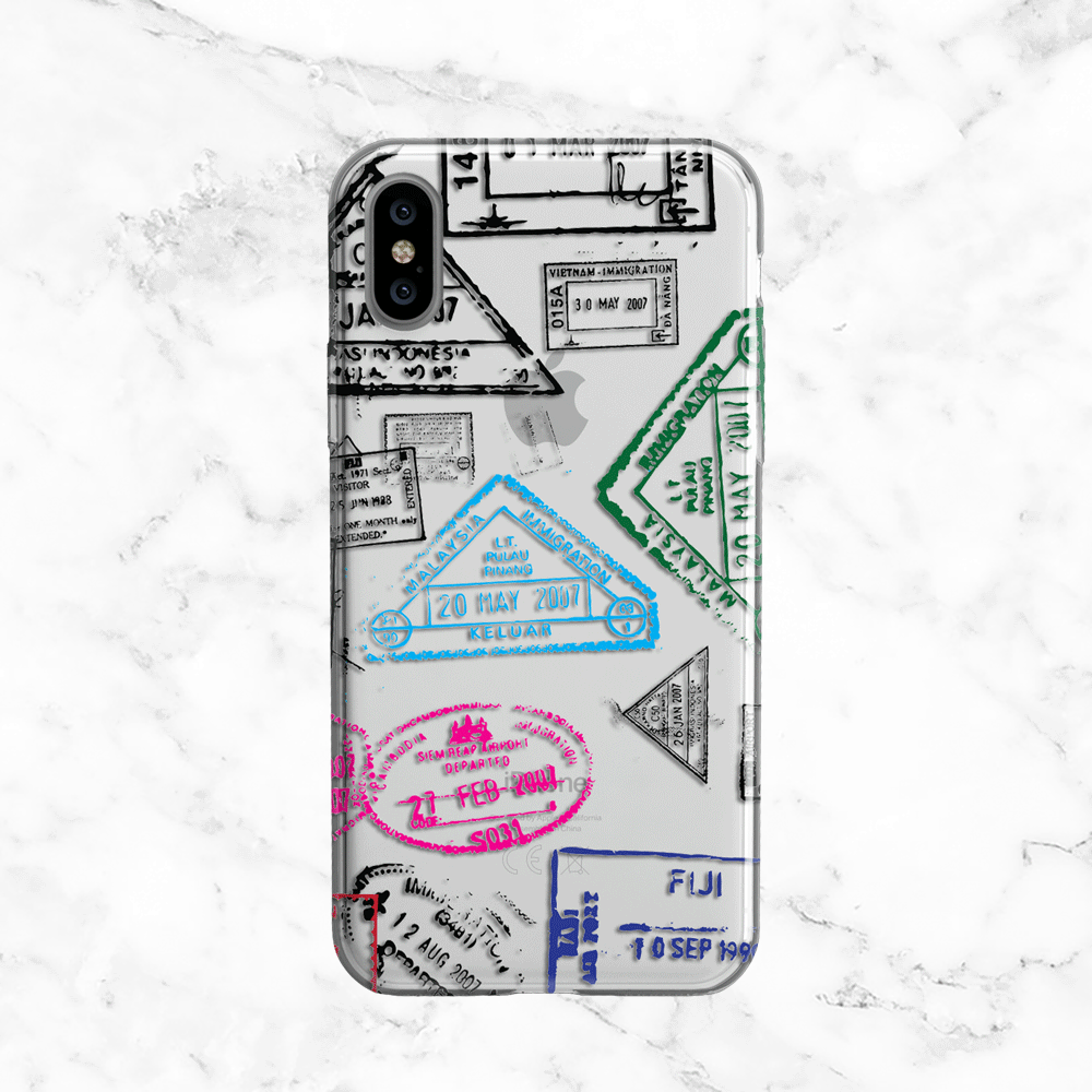 Passport Stamp Phone Case - Clear TPU with Print