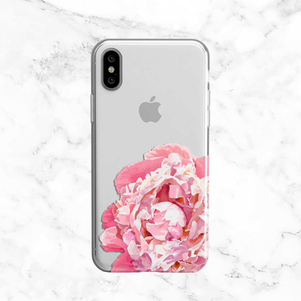 Pink Peony Phone Case - Clear Printed TPU Design