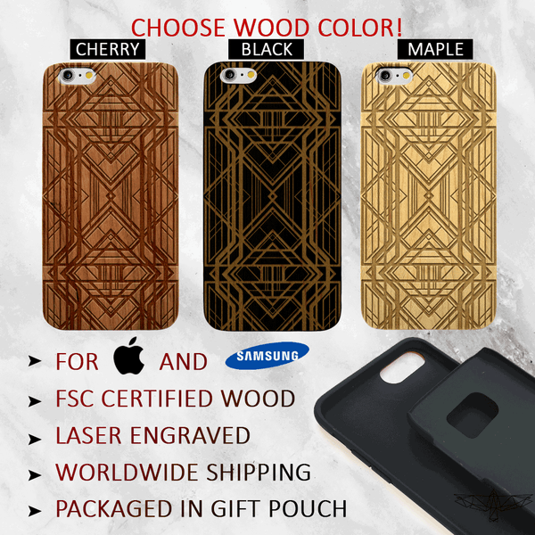 Art Deco Wood Phone Case