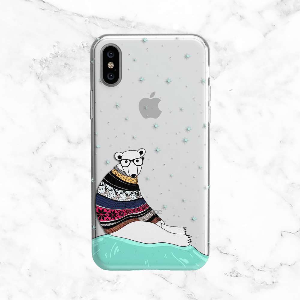 Winter Polar Bear with Sweater - Clear TPU Phone Case