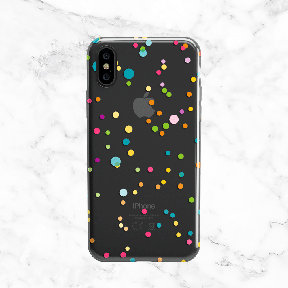 Polka Dot Confetti Phone Case - Clear TPU with Print