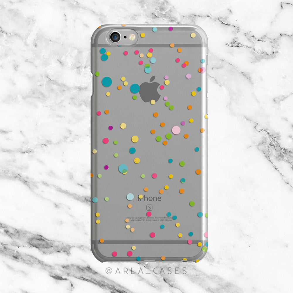Polka Dot Confetti on Clear Printed iPhone Case