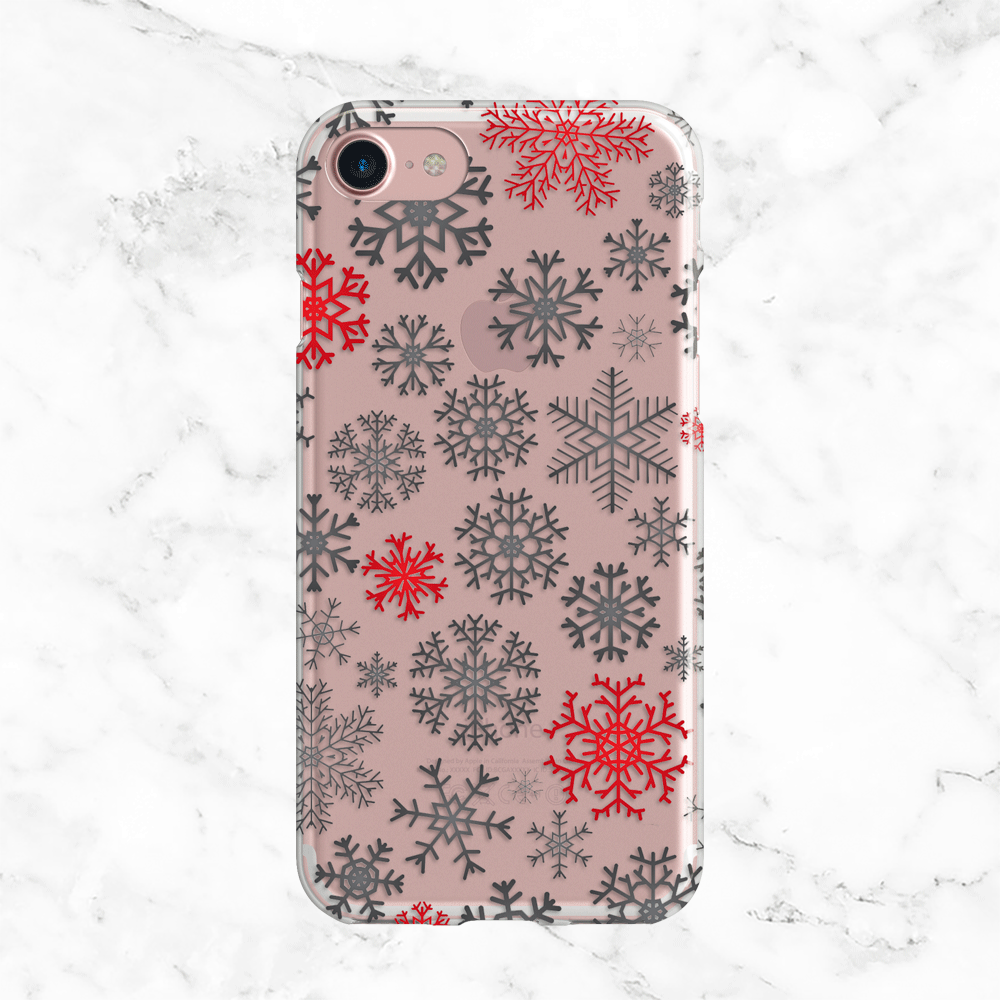 Red and White Snowflake Pattern - Clear Printed TPU iPhone and Galaxy Case