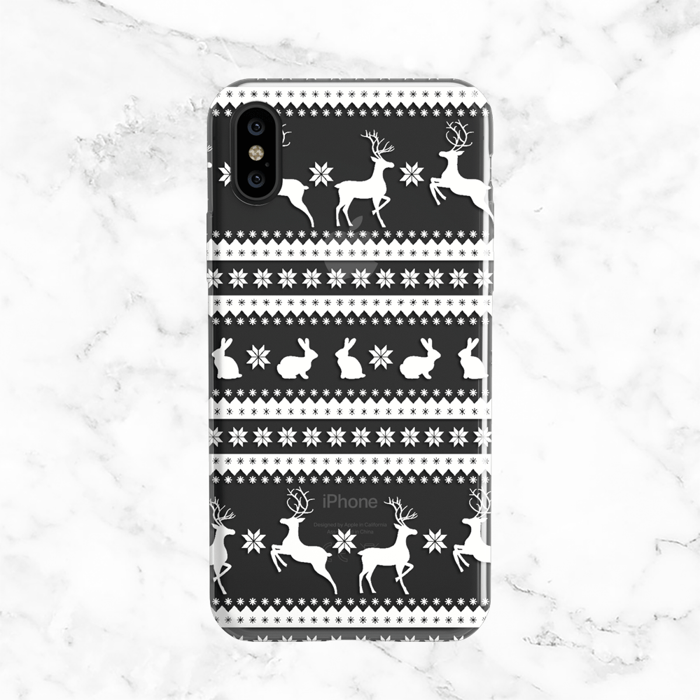 Seasonal White Christmas Sweater Phone Case Clear With White Print