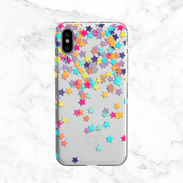 Rainbow Stars Confetti Phone Case - Clear Printed TPU